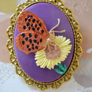 Jewelry - Butterfly Cameo Brooch Vintage Style Hand Painted